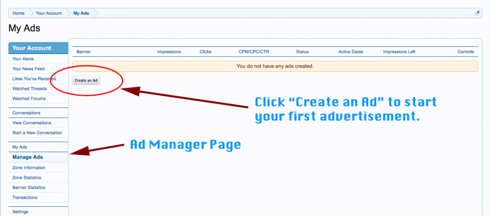 Creating an Advertisement in the Ad Manager